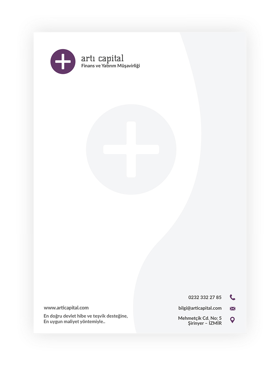 artı capital antetli kağıt